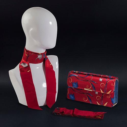 Clutch bag base rossa, borsa rigida in seta con stampa floreale, inclusi2 foulard da collo in seta abbinati, silky stripes.