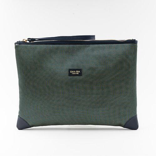 pochette borsa a manoin seta verde con stampa geometricae finiture in pelle