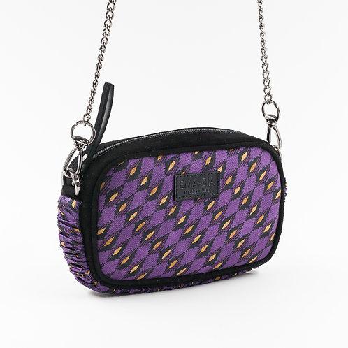 mini borsa a tracolla in pelle nera e seta con stampa geometrica