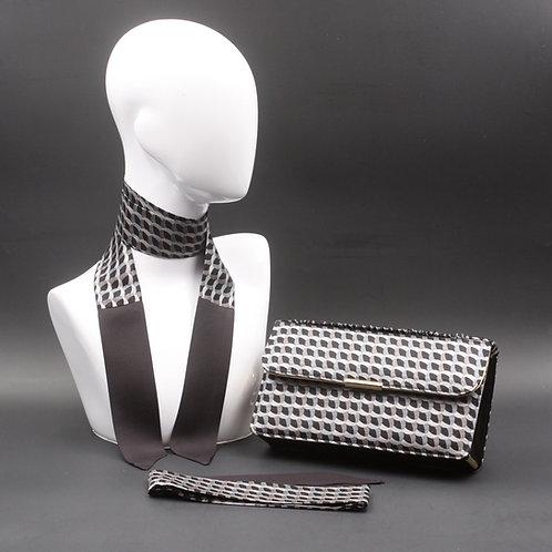 Clutch bag nera, borsa rigidain seta con stampa geometrica grigia, inclusi2 foulard da collo in seta abbinati, silky stripe