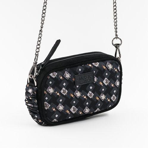 mini borsa a tracolla in pelle nera e setacon stampa geometrica e floreale