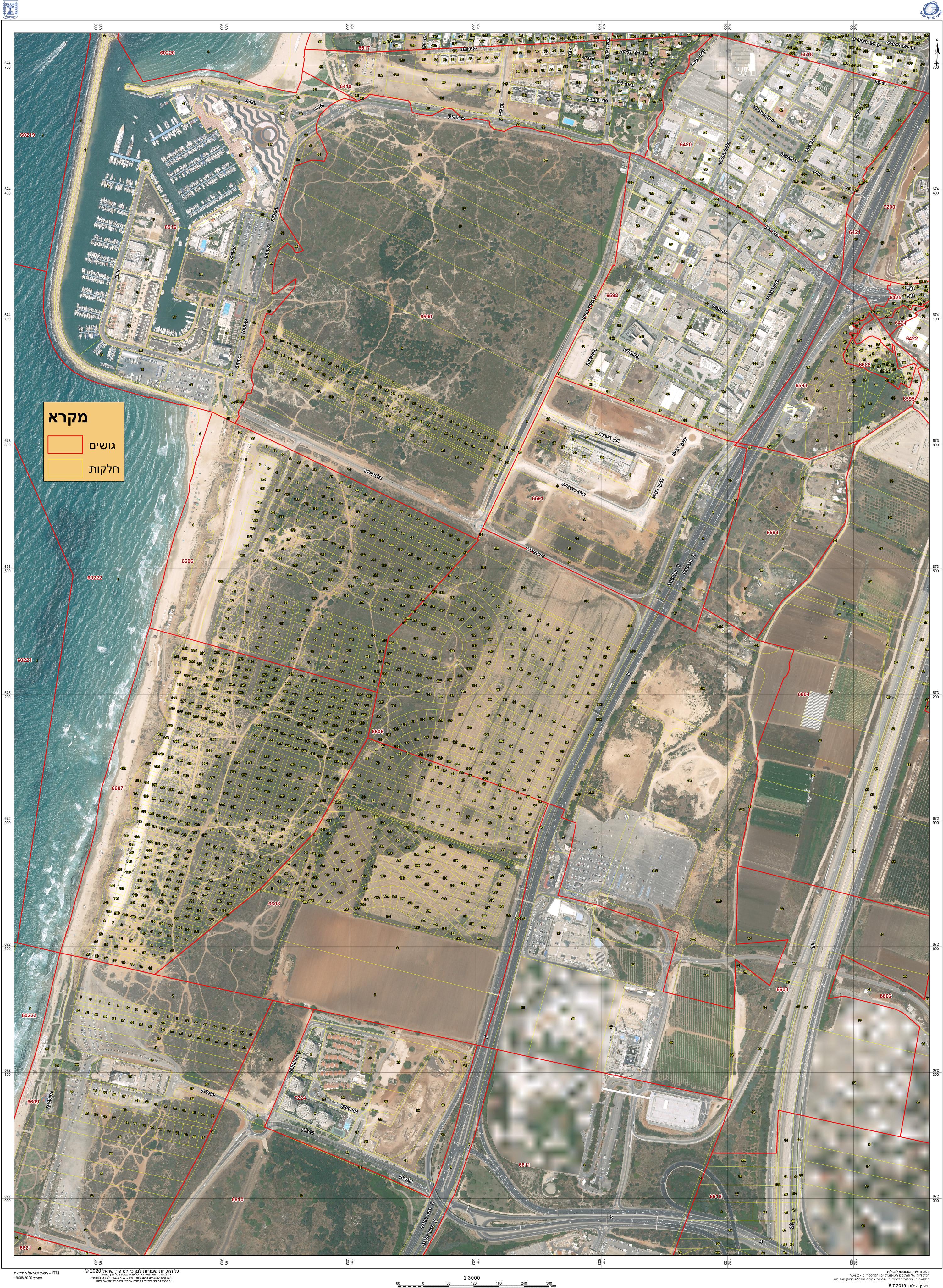 מפת גושים חלקות חוף התכלת