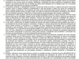 """Divulgação do """"Posicionamento Comitê Popular Estadual de Acompanhamento da Crise Educacional no"""