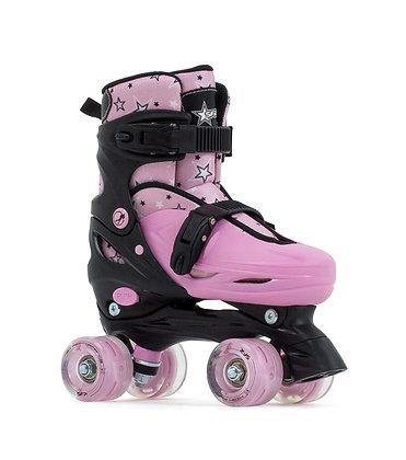 SFR Nebula Lights Adjustable Quad Skates - Black/Pink