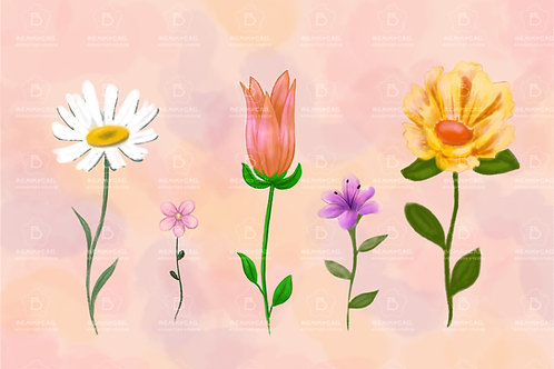 Five Random Flower Digital Asset Watercolor Pastel Painting Illustration