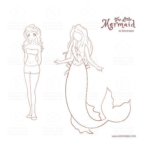 The Little Mermaid Princess Marina Paper Doll Coloring Printable
