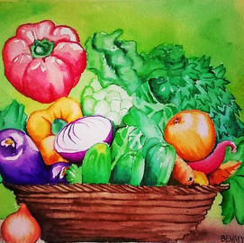 Watercolor Painting of Vegetables