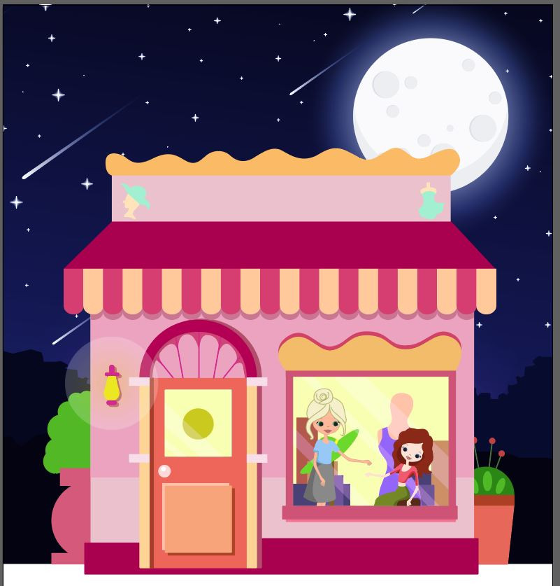night-time shop inside staff with other