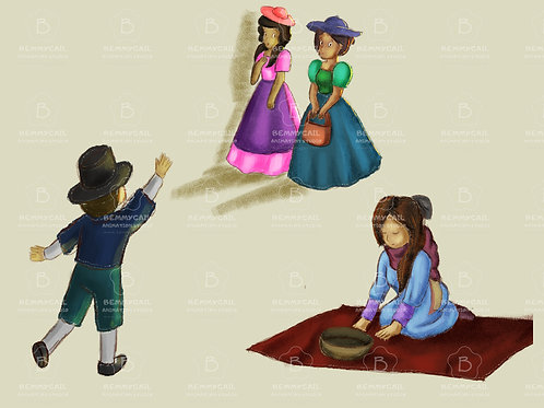 3 Set of Illustrations with a boy waving a beggar woman and ladies walking