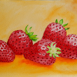Strawberry Painting in Watercolor