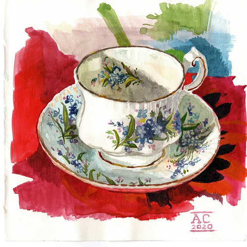 Cobalt Poppies Teacup