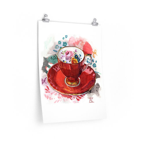 Pumpkin Teacup with Foxy Pattern - Premium Matte Poster
