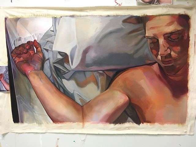 Excited to build a framed panel for this painting tomorrow with my Dad! _Arm Crook__57_x33__Oil on canvas _#sleep #art #artfido #oilpainting