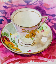 When I started painting teacups in Janua