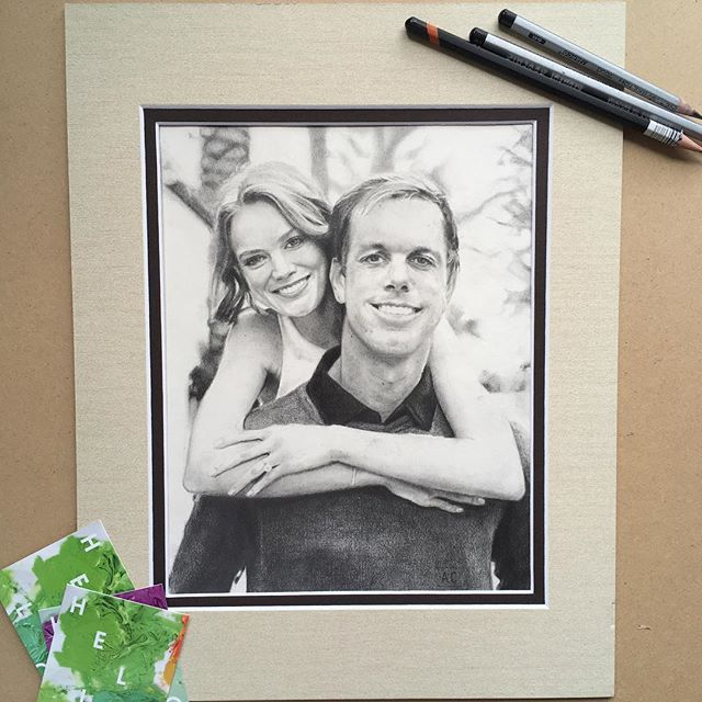 """Abby and Sam 8"""" x 10"""" drawing"""