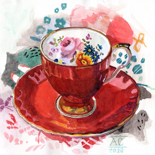 Pumpkin Teacup with Foxy Pattern