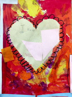 Stamping + Collage Hearts