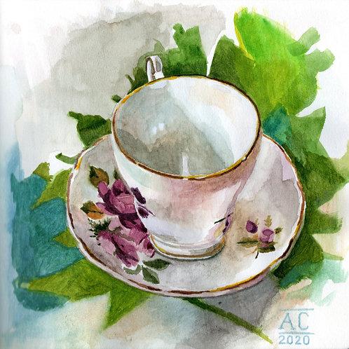 Vintage Floral Teacup in the Tropics