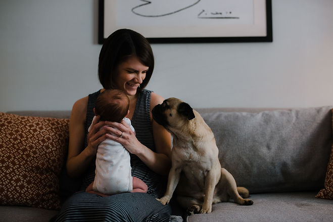 Momon couch wit newborn and dog