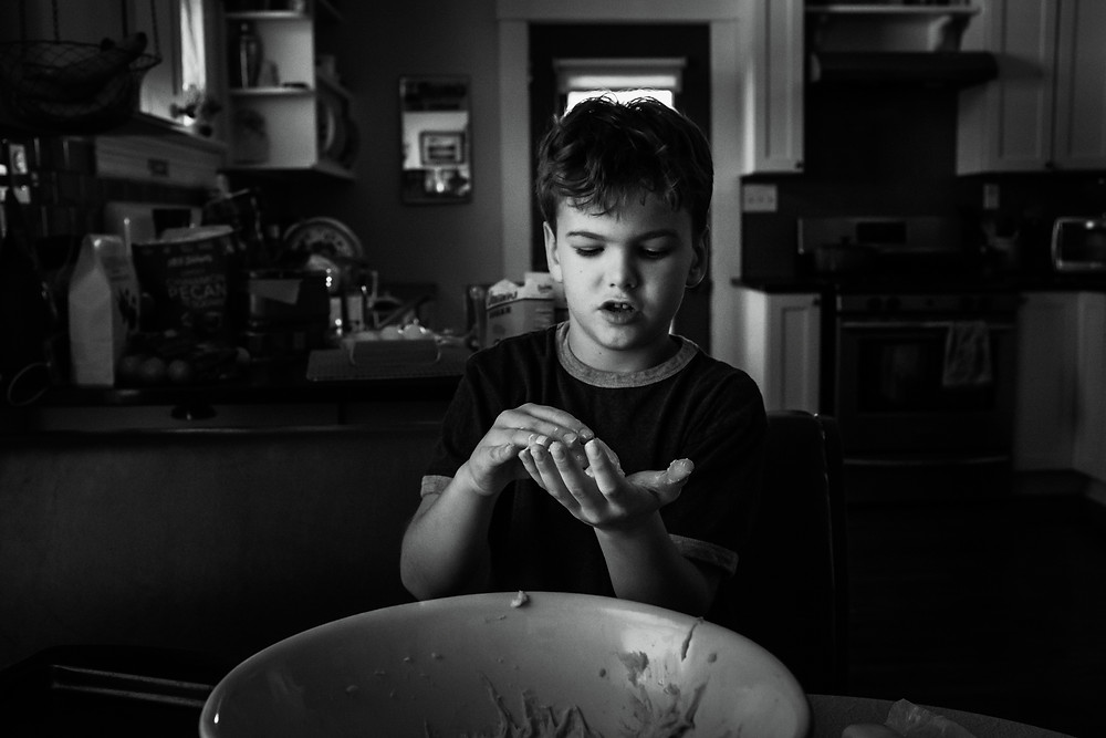 Young boy baking