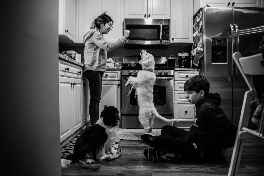 Mom and son in the kitchen