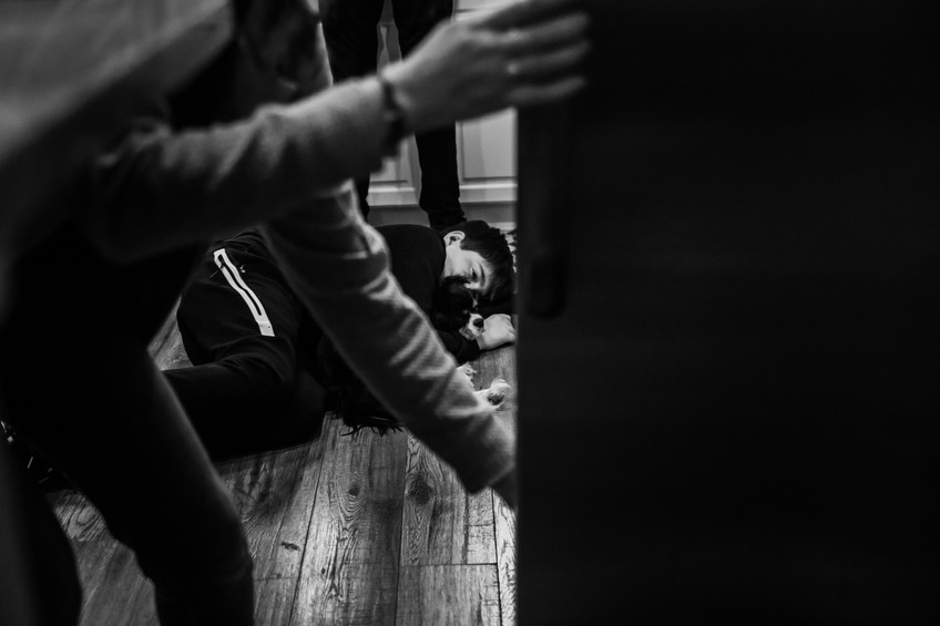 boy on kitchen floor