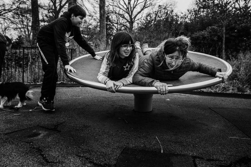 Mom and kids at playground