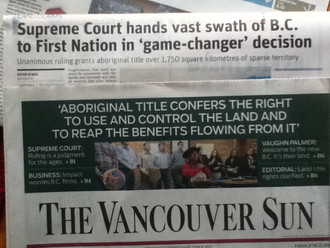 1997 - Supreme Court Delgamuukw Case ruled that Aboriginal title to the land had never been extingui