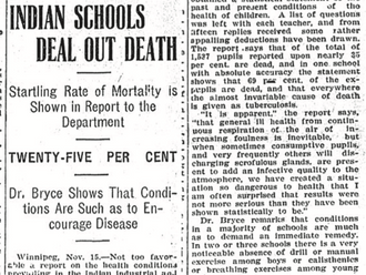 1907 - Bryce report on TB epidemics in residential schools have up to 50% mortality rate.