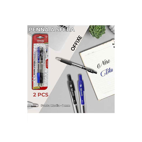 OFFIXE penna a sfera punta media nero e blu 1 mm