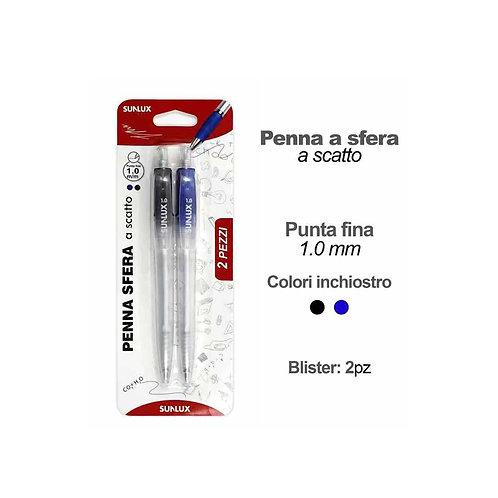 SUNLUX penna a sfera a scatto punta 1.0 mm blu
