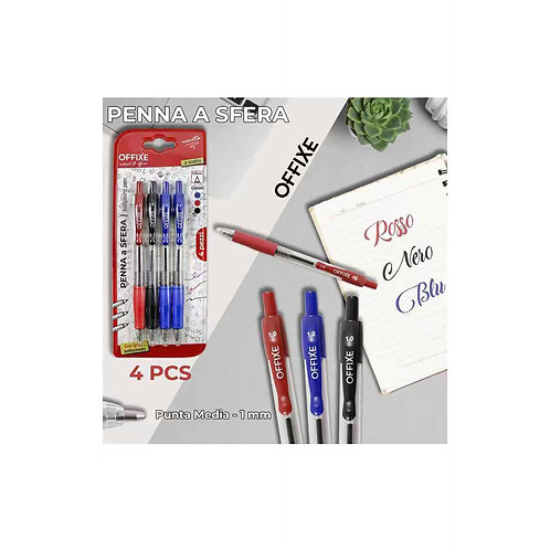 OFFIXE penna a sfera 2 blu 1 nero 1 rosso punta media 1 mm