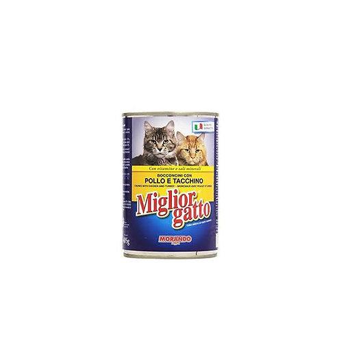 Morando Miglior Gatto Bocconcini con Pollo e Tacchino