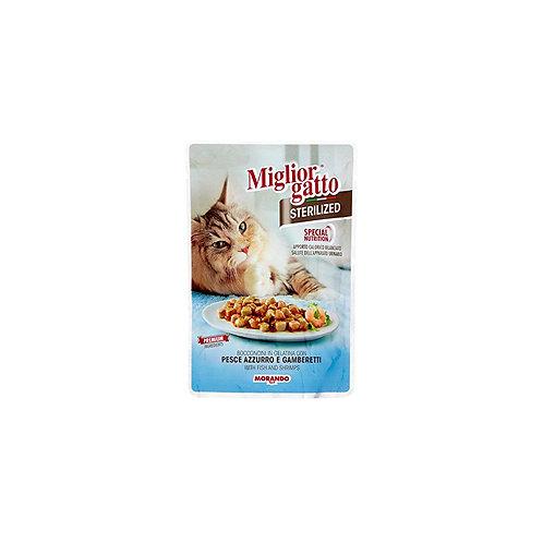 Morando Miglior Gatto Sterilized bocconcini in gelatina con pesce azzurro e gamb
