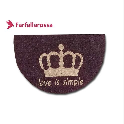 Farfallarossa Zerbino in cocco bordo a mezza luna,  stampa corona Love is simple