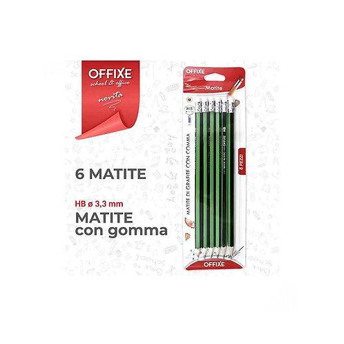 OFFIXE matite di grafite HB con gomma 6 pezzi