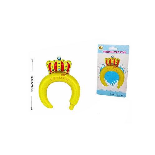 cerchietto gonfiabile a forma di corona giallo