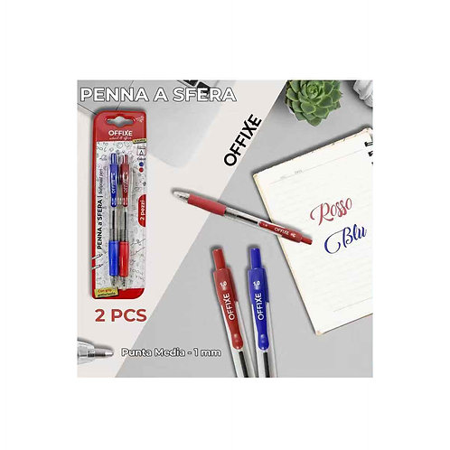 OFFIXE penna a sfera punta media blu e rosso 1 mm