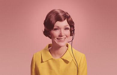 Mulher, com, telefone, headset