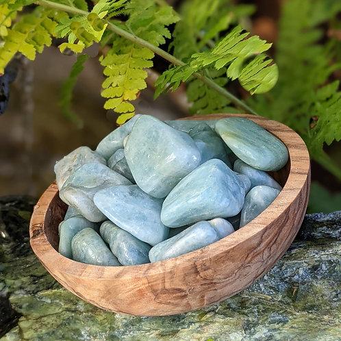 Aquamarine Tumbled Stone, Ethically Sourced