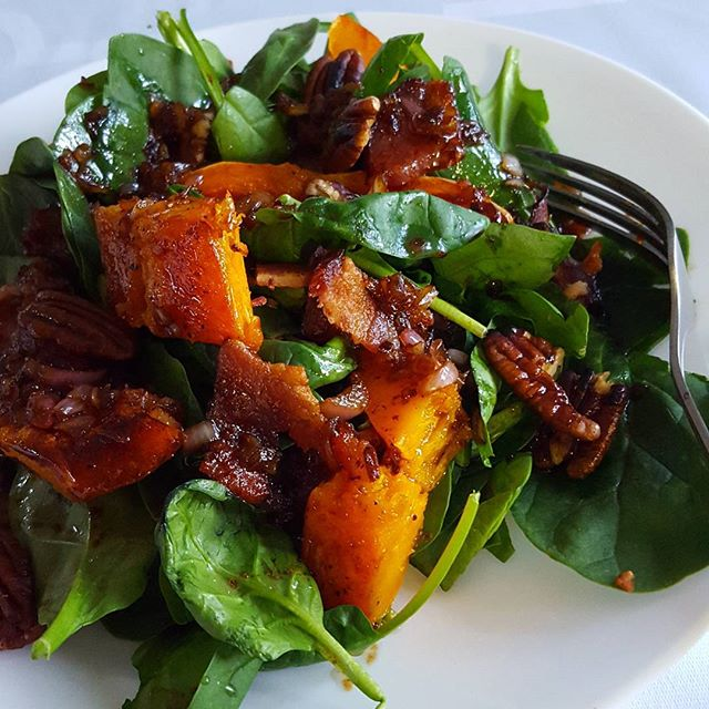 Crispy butternut squash & bacon salad