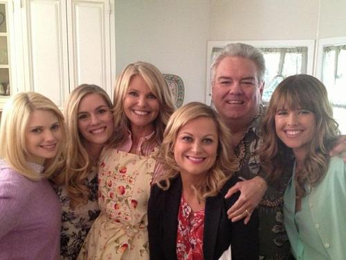 Parks and Recreation on set