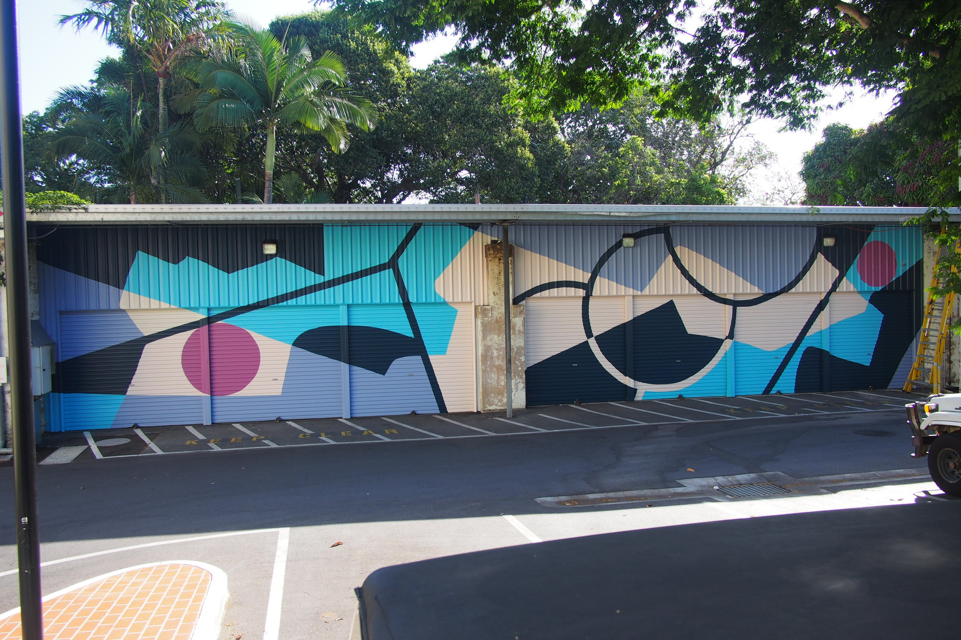 Mural in support of SURFACE TENSION exhibition at the Brisbane Powerhouse, investigating themes of separation and confinement, 25m x 6m