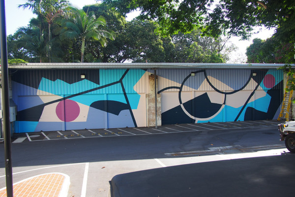 Mural in support of SURFACE TENSION investigating separation and confinement, 25m x 6m