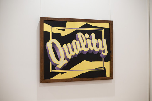 'Quality' - 23k gold leaf, 16k satin gold leaf, and blended enamel paint on glass, reclaimed silky oak frame.  Please contact for full R E F U S E catalougue and exhibition essay.