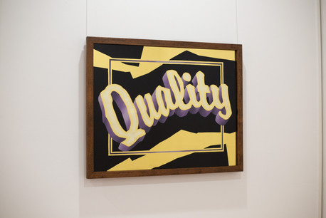'Quality' - 23k gold leaf, 16k satin gold leaf, and blended enamel paint on glass, reclaimed silky oak frame.  Please contact for full R E F U S E catalogue and exhibition essay.
