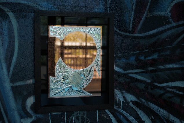 'Other' - Copper leaf and 12k gold leaf on glue chipped glass, 500 x 450