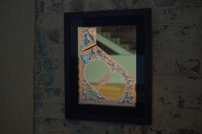 'Together' - 23k Gold leaf and 12k gold leaf on glue chipped glass, 500 x 450