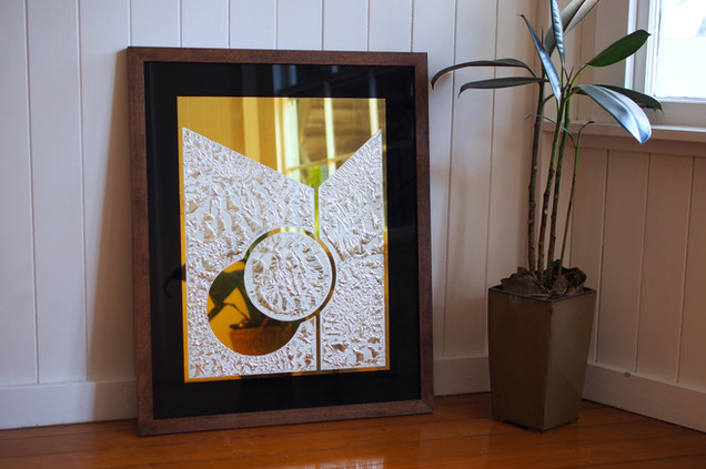 'Reach Out' - 23k Gold leaf and 12k gold leaf on glue chipped glass, 750 x 600