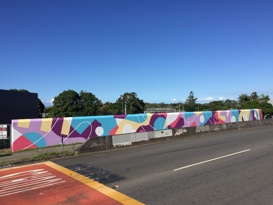 Commissioned works for Queensland Rail following collaging workshops with local school kids, 2021. 66m x 2m